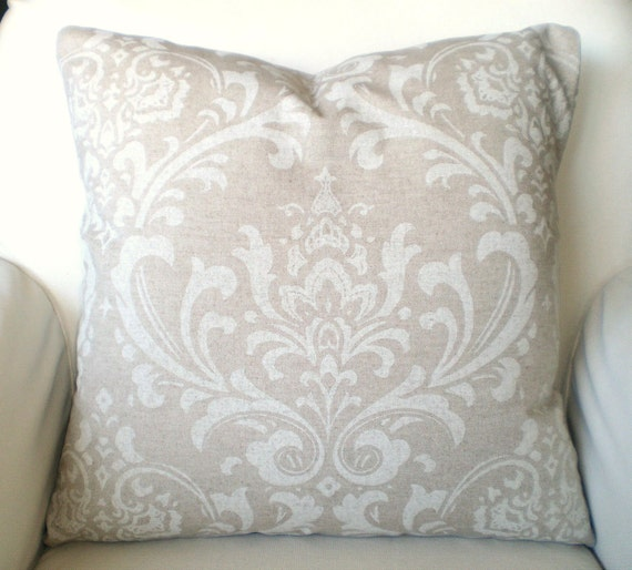 White Decorative Pillows For Bed : Tan Off White Decorative Throw Pillow by PillowCushionCovers