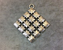"""2"""" Long Tibetan Silver Textured Waffle Patterned Diamond Shape Focal Pendant - Measuring 50mm x 50mm with Attatched Ring - Sold Individually"""