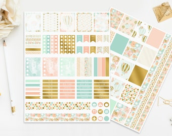 Printable Planner Stickers Baby Hot Air Balloons Blue Mint Peach Gold Foil Cute Digital Planners Instant Download Cute Pastel Print Cut