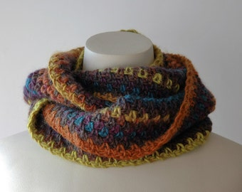 Soft wool infinity cowl, multi colour - ready to ship