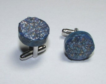 Cufflinks, blue, handmade from recycled paper newspaper advertising, minimalist, recycled, 1st anniversary gift for him