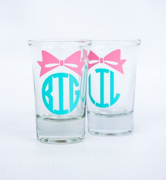 Personalized Big Sis/ Little Sis/ Lil Sis/ shot glasses/ Sorority/ Greek/ Reveal/ girl's trip/ girl's weekend