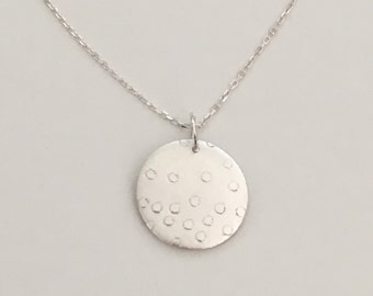 Dots on circle pendant necklace, fine silver