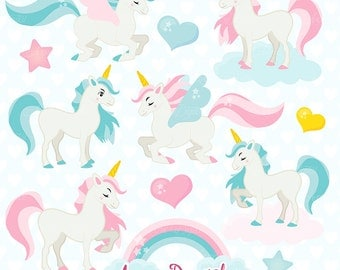 Cute Unicorn Clipart. Scrapbook printable little pony clip art png for Commercial Use. Colorful rainbow unicorns horse graphics