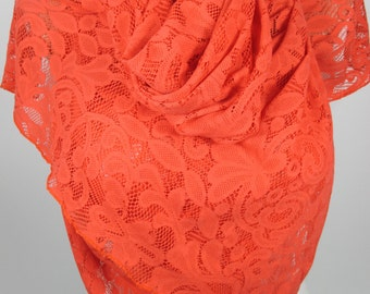 Lace Scarf Orange Lace Scarf Wedding Scarf Bridal Accessories Bridesmaids Gifts Women Fashion Accessories Gift IdeasFor Her Christmas Gifts