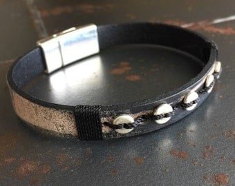 Two tone Black leather bracelet, Eco friendly leather Made in the USA  Magnetic clasp bracelet hand stitched (#18)