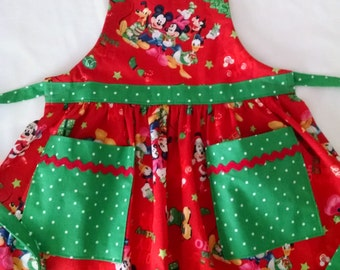 Girls Toddler Christmas Apron Minnie Mouse Apron with Pockets (3-4) Holiday Apron