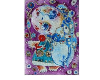 Folk art painting,mini angel painting, Original art, Folk Art, Primitives,watercolor, painting on canvas, abstract angel
