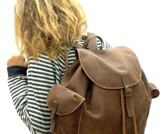 Sale! Brown Leather trave backpack Women leather laptop Rucksack Men Large backpack travel Rucksack Hipster Backpack Leather Travel backpack