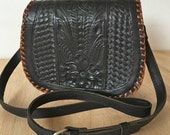 Vintage Hand Tooled Black Leather handbag with Brown Stitching