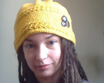 Yellow Flower Hat w/ Buttons