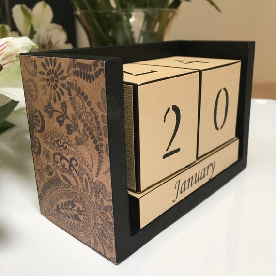 Calendar Wood Blocks : Paisley calendar perpetual desk block