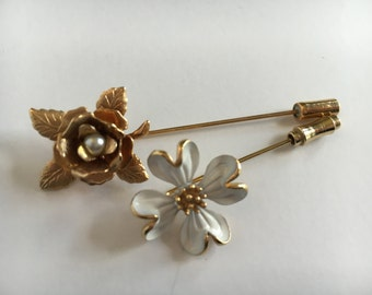 Dogwood and Rose Stick Pins. One  Dogwood pin