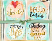 MOTIVATIONAL COASTER 4x4 inch digital graphic - gold watercolor coaster greeting card making scrapbook diary - instant download - qu479