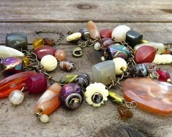 Beaded Boho Gypsy Bracelet - Boho Jewelry - Beaded Charm Bracelet - Recycled Vintage Jewelry - Upcycled Recycled Repurposed Jewelry Beads
