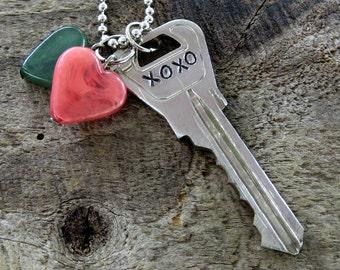 XOXO Key Necklace – Engraved Key Necklace – Hand Stamped Key Jewelry – Stamped Key Necklace – Word Key – Upcycled Recycled