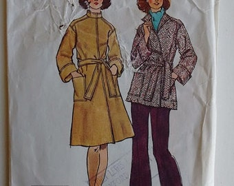 Vintage 1970's Simplicity 6633 Jiffy Sewing pattern Unlined Wrap Front Belted Coat in Two Lengths