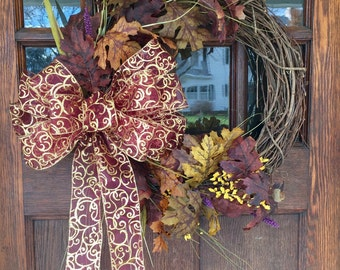 Seasonal Fall Wreath with Fall Foliage and Gold Glitter and Burgundy  Bow