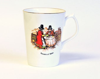Vintage Coffee Mug Jason Works Nanrich Pottery Souvenir of Wales Pilgrim Fine Bone China  / Jason Works China Tea Mug / One Coffee Mug