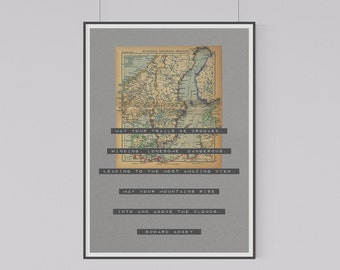 1943 Vintage Map of Sweeden, Norway & Denmark with Inspirational Travel Quote by Edward Abbey