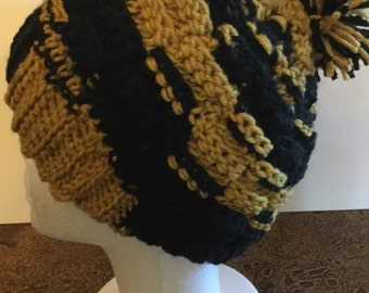 Black and gold crochet beanie hat