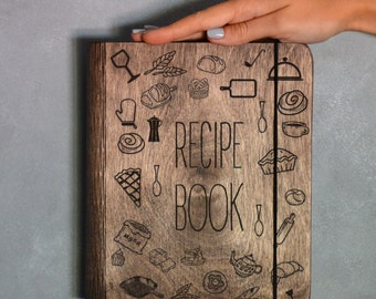 Recipe Book Binder Bridal Shower Gift Wooden Notebook Personalized Gift for Bride Engagement Friend Mom Journal Cookbook Blank Book