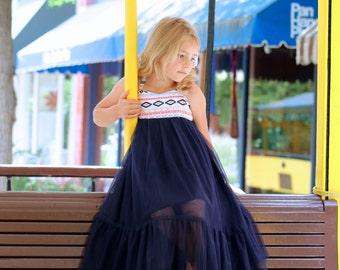 Girls Maxi Dress with Aztec Print