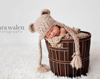 Crochet Baby Hat, Bear Hat, Ear Flap Hat, Baby Newborn Hat, Baby Boy Hat, Baby Girl Hat, Newborn Prop, Baby Hat, Baby Boy, Baby Girl
