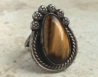 Vintage Tiger's Eye Beryl Sterling Silver Ring Size 9 Mexico