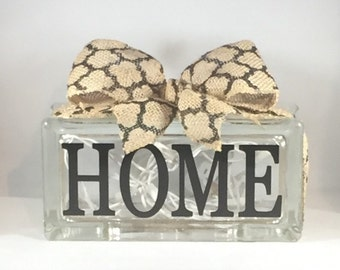 HOME Rectangular Decorative Home Decor Lighted Glass Block