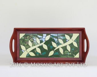 Mosaic Tray - Leaves on a branch