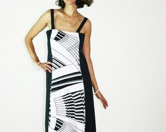 70s RETRO DRESS, black white dress, summer dress, sundress, day dress, geometric dress, sleevelress dress, abstract dress, size s m l