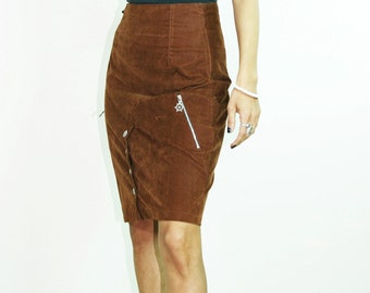 FAUX SUEDE SKIRT, 80s pencil skirt, high waisted skirt, button skirt, brown skirt, vintage boho retro grunge size xs s