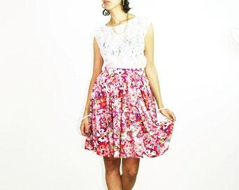 PINK FLORAL skirt, retro skirt, pink skirt, handmade skirt, romantic skirt, spring summer, flowers, colored, size xs s