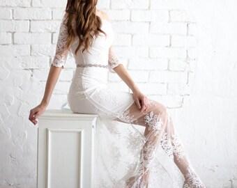 Lace wedding dress, open sholder wedding dress, lace wedding dress, Bohemian wedding dress, lace back wedding dress