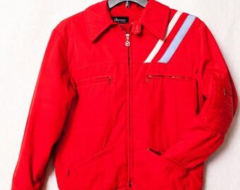 Red Obermeyer Retro Ski Jacket, Vintage Men's Medium Parka, Men's Vintage Winter Coat, Vintage Ski Party Winter Jacket