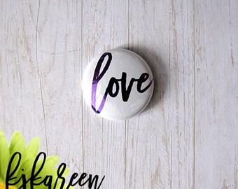 "Badge 1 ""- Love metal purple"