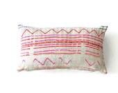 """Hmong Lumbar Throw Pillow, The """"Bay"""" Vintage Hmong Batik Bohemian Throw Pillow, Boho Throw Pillow, Bohemian Pillow, Batik Pillow"""