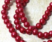 Red Glass Round Beads 8 mm (32 inch strand)