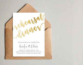 Printable Gold Rehearsal Dinner Invitation, Rehearsal Dinner Invite, Rehearsal Dinner Instant Download, DIY Invitations, Wedding Invitations