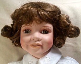"Porcelain Doll 18"" - Stacy has Dimples & Teeth"
