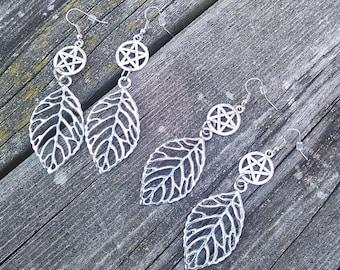 Metal Leaf Earrings, Pentacle Wiccan earrings, Pagan Earrings, Gypsy Earrings, Long Earrings, Boho earrings, Pentagram earrings