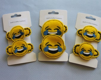 Emoji Hair Clips - Hair Clips, Laughing Emoji Hair Clips, Crying Emoji Hair Clips, Snap Clips, Alligator Clips, Handmade, Embroidered