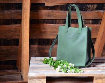 Green genuine leather tote cross-body handbag with short handles, medium size handbag