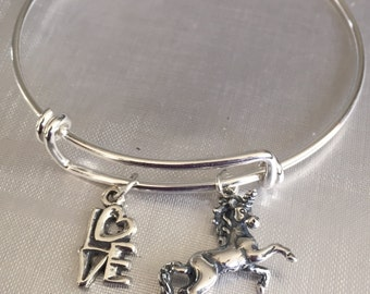 Unicorn bracelet- sterling silver charms and bracelet
