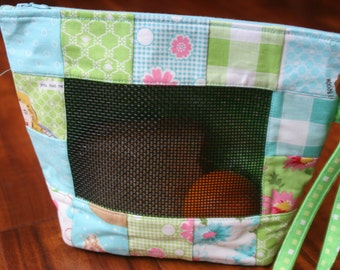Patterned Green and Blue Lunch Bag