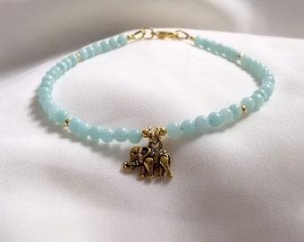 Anklet - Elephant Anklet - Amazonite Anklet with Elephant Charm - Boho Surf Jewellery - Elephant Lovers -