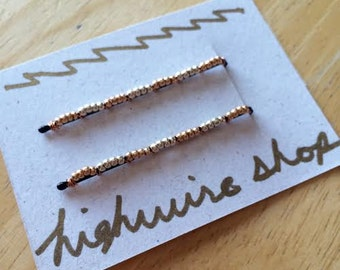 Silver and Gold Beaded Bobby Pins