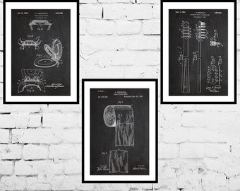Bathroom Patent Prints Set of 3, Bathroom Decor, Bathroom Art, Toilet paper, Toilet Seat, Tooth Brush, Bathroom Wall Art, Bathroom 3 set!!