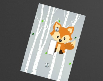 Fox nursery WOODLAND Forest animals Light switch Plate Cover Kids room Wall Art playroom , outlets and other sizes available